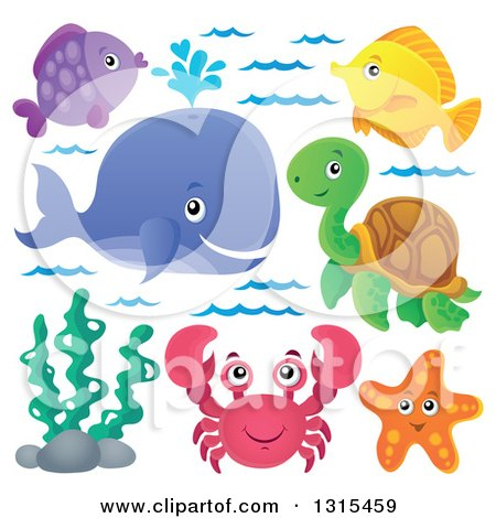 Clipart of a Cartoon Happy Spouting Whale, Fish, Sea Turtle, Starfish, Seaweed and Crab - Royalty Free Vector Illustration by visekart