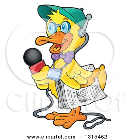 Clipart of a Cartoon Yellow Duck Reporter Holding a Microphone and ...