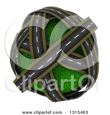 Clipart of 3d Roads Around a Grassy Planet, on White - Royalty Free Illustration by KJ Pargeter