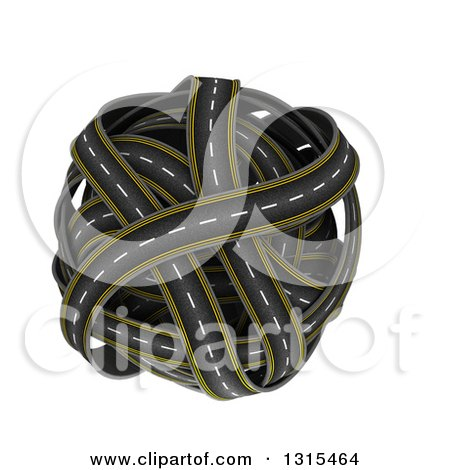 Clipart of a 3d Globe Made of Roads, on White - Royalty Free Illustration by KJ Pargeter