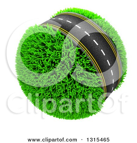 Clipart of a 3d Roadway Around a Grassy Planet, on White - Royalty Free Illustration by KJ Pargeter