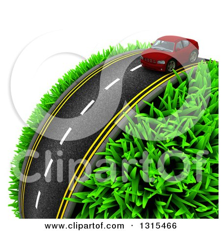 Clipart of a 3d Road with a Red Car Around a Grassy Planet, on White 2 - Royalty Free Illustration by KJ Pargeter