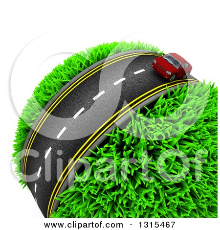 Clipart of a 3d Road with a Red Car Around a Grassy Planet, on White - Royalty Free Illustration by KJ Pargeter