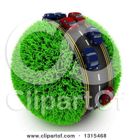 Clipart of a 3d Road with Cars in Traffic Around a Grassy Planet, on White - Royalty Free Illustration by KJ Pargeter