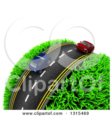 Clipart of a 3d Road with Red and Blue Cars Around a Grassy Planet, on White - Royalty Free Illustration by KJ Pargeter