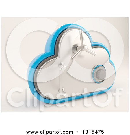 Clipart of a 3d Cloud Drive Safe Vault Icon, on Shaded White - Royalty Free Illustration by KJ Pargeter