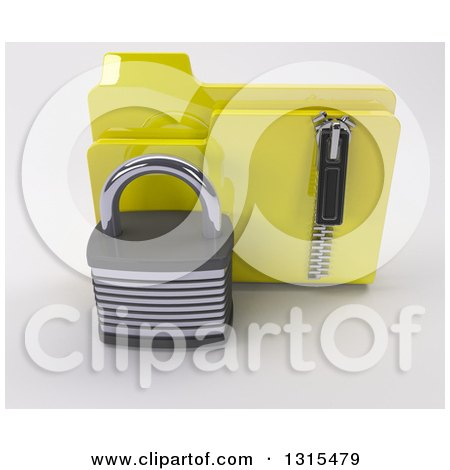 Clipart of a 3d Yellow File Folder with a Zipper and Padlock, on Shaded White - Royalty Free Illustration by KJ Pargeter