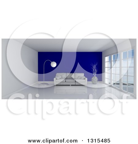 Clipart of a 3d Room Interior with Floor to Ceiling Windows and a Dark Blue Feature Wall with a Sofa, Vase and Lamp - Royalty Free Illustration by KJ Pargeter