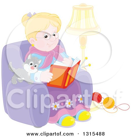 Clipart of a Blond Caucasian Granny Sitting in a Chair and Reading a Book with a Kitten and Yarn at Her Feet - Royalty Free Vector Illustration by Alex Bannykh