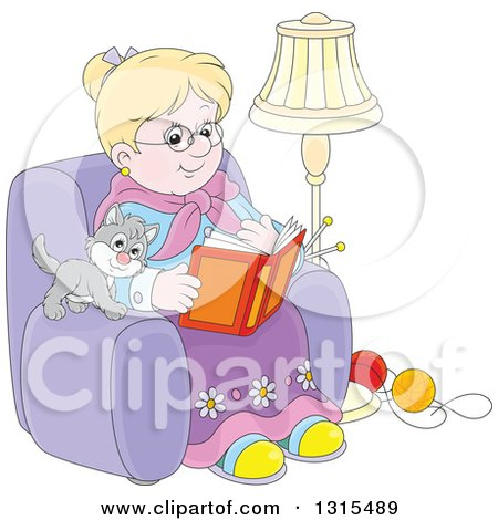 Blond White Granny Sitting in a Chair and Reading a Book with a Kitten and Yarn at Her Feet Posters, Art Prints