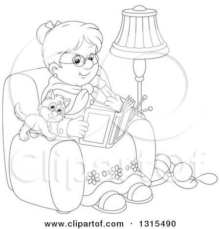 Clipart of a Cartoon Black and White Granny Sitting in a Chair and Reading a Book with a Kitten and Yarn at Her Feet - Royalty Free Vector Illustration by Alex Bannykh
