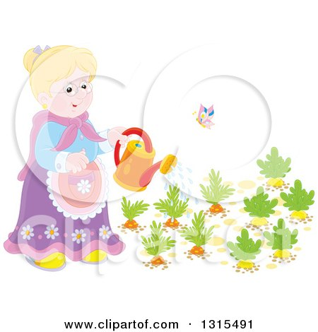 Clipart of a Blond Caucasian Granny Watering a Carrot and Turnip Garden - Royalty Free Vector Illustration by Alex Bannykh