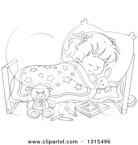Clipart of a Cartoon Black and White Girl Sleeping ...Nap Time Clip Art Black And White
