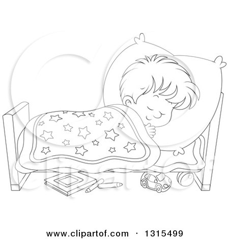 Clipart of a Cartoon Black and White Boy Sleeping ...