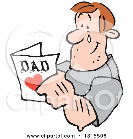 Clipart of a Cartoon Caucasian Dad Tearing up and Reading a Fathers Day Card - Royalty Free Vector Illustration by Johnny Sajem