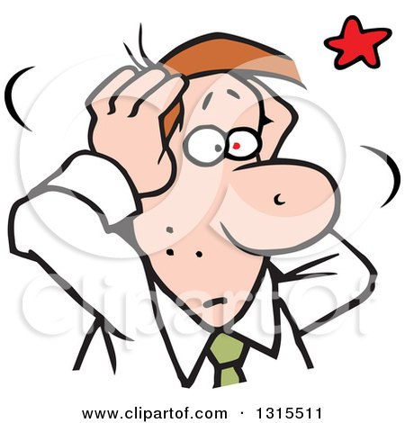 Clipart of a Cartoon Stressed Brunette Caucasian Business Man Grabbing His Aching Head - Royalty Free Vector Illustration by Johnny Sajem