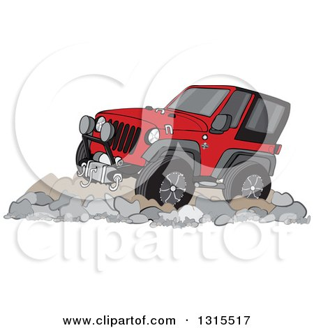 Clipart of a Cartoon Red Jeep Wrangler SUV on Rocks - Royalty Free Vector Illustration by djart
