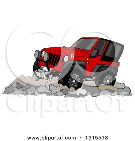 Clipart of a Cartoon Red Jeep Wrangler SUV on Boulders - Royalty Free Illustration by djart