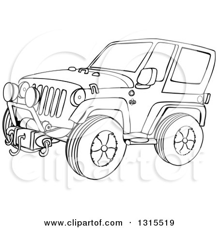 Outline Clipart Of A Cartoon Black And White Jeep Wrangler Suv On