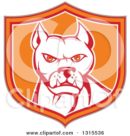 Clipart of a Retro Cartoon Pitbull Guard Dog in a Tan Red Orange and White Shield - Royalty Free Vector Illustration by patrimonio