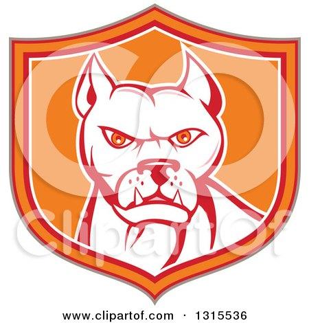 Retro Cartoon Pitbull Guard Dog in a Tan Red Orange and White Shield Posters, Art Prints