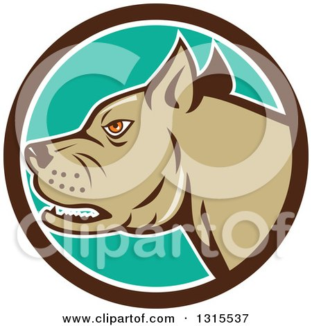 Clipart of a Cartoon Growling Pitbull Guard Dog in a Brown White and Turquoise Circle - Royalty Free Vector Illustration by patrimonio