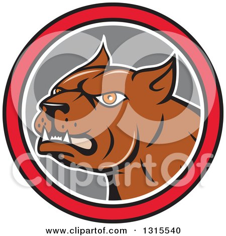 Cartoon Brown Pitbull Guard Dog in a Red Black White and Gray Circle Posters, Art Prints