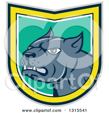 Clipart of a Cartoon Angry Pitbull Guard Dog Snarling in a Gray Black Yellow White and Turquoise Shield - Royalty Free Vector Illustration by patrimonio