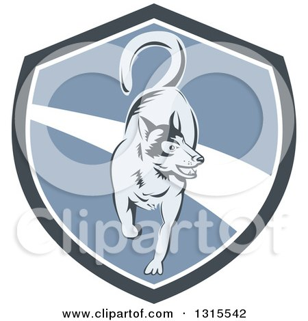 Clipart of a Retro Woodcut Siberian Husky Dog Running in a Gray White and Blue Shield - Royalty Free Vector Illustration by patrimonio