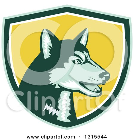 Clipart of a Retro Woodcut Siberian Husky Dog in a Green, White and Yellow Shield - Royalty Free Vector Illustration by patrimonio