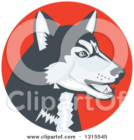 Clipart of a Retro Woodcut Siberian Husky Dog in an Orange Red Circle - Royalty Free Vector Illustration by patrimonio