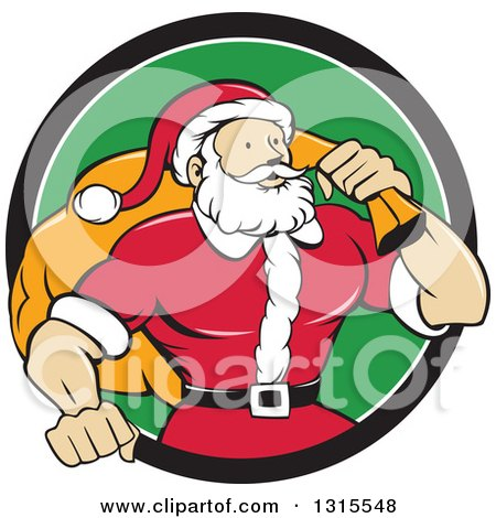 Clipart of a Cartoon Buff Christmas Santa Claus Carrying a Sack over His Shoulder and Emerging from a Black White and Green Circle - Royalty Free Vector Illustration by patrimonio