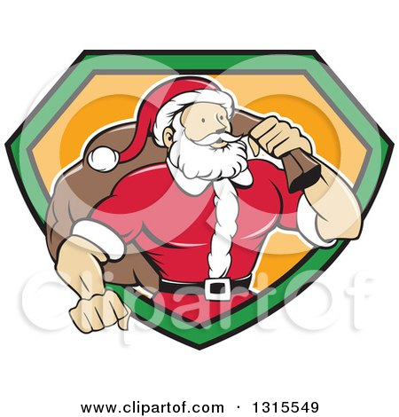 Clipart of a Cartoon Buff Christmas Santa Claus Carrying a Sack over His Shoulder and Emerging from a Black Green and Orange Shield - Royalty Free Vector Illustration by patrimonio
