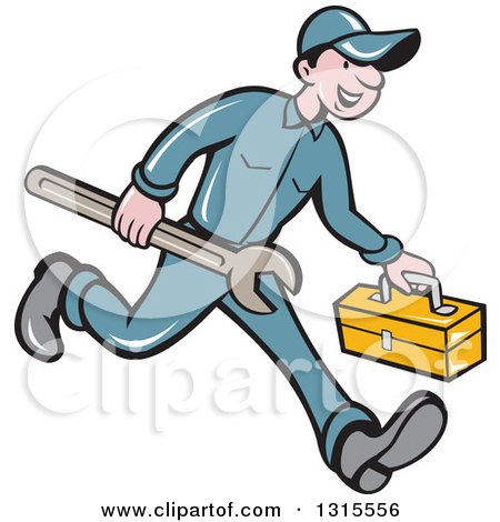 Clipart of a Retro Cartoon Happy White Male Mechanic Runnign with a Spanner Wrench and a Tool Box - Royalty Free Vector Illustration by patrimonio
