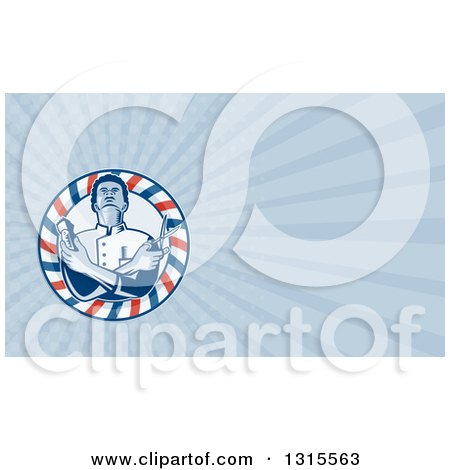 Clipart of a Retro Woodcut Barber Holding Clippers and Scissors in a Striped Circle and Blue Rays Background or Business Card Design - Royalty Free Illustration by patrimonio