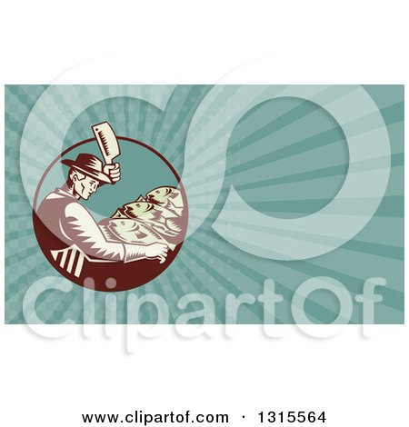 Clipart of a Retro Woodcut Male Fishmonger Chopping Meat and Turquoise Rays Background or Business Card Design - Royalty Free Illustration by patrimonio