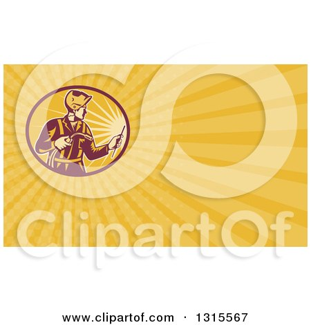 Clipart of a Retro Male Welder Working and Yellow Rays Background or Business Card Design - Royalty Free Illustration by patrimonio