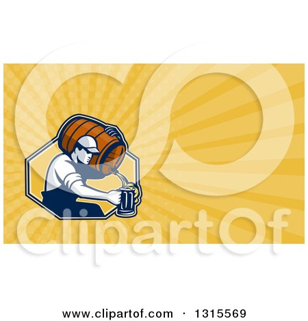 Clipart of a Retro Male Bartender Pouring Beer from a Keg and Yellow Rays Background or Business Card Design - Royalty Free Illustration by patrimonio