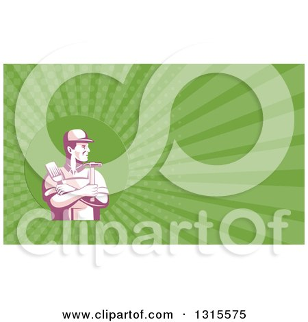 Retro Purple Handyman with Folded Arms, Holding a Paintbrush and Hammer and Green Rays Background or Business Card Design Posters, Art Prints