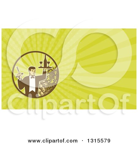 Clipart of a Retro Male Waiter Serving Wine and Green Rays Background or Business Card Design - Royalty Free Illustration by patrimonio