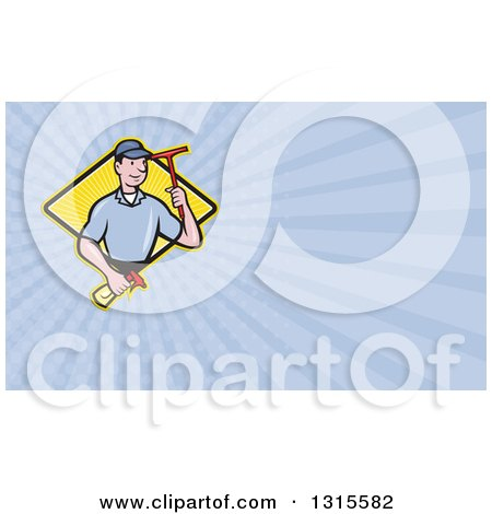 Clipart of a Cartoon White Male Window Cleaner Holding a Squeegee and Spray Bottle and Pastel Purple Rays Background or Business Card Design - Royalty Free Illustration by patrimonio