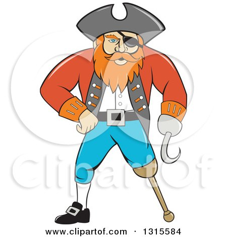 Clipart of a Retro Cartoon Captain Pirate with a Peg Leg and Hook Hand - Royalty Free Vector Illustration by patrimonio