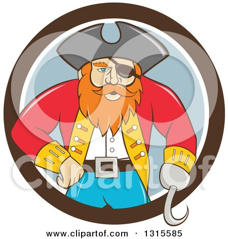 Clipart of a Retro Cartoon Captain Pirate with a Peg Leg and Hook Hand, Emerging from a Brown White and Gray Circle - Royalty Free Vector Illustration by patrimonio