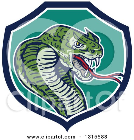 Clipart of a Cartoon Attacking Cobra Snake in a Blue White and Turquoise Shield - Royalty Free Vector Illustration by patrimonio