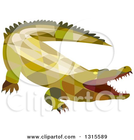 Clipart of a Retro Low Poly Geometric Angry Crocodile with an Open Mouth - Royalty Free Vector Illustration by patrimonio