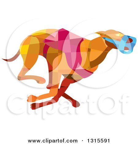 Clipart of a Retro Low Poly Geometric Racing Greyhound Dog - Royalty Free Vector Illustration by patrimonio