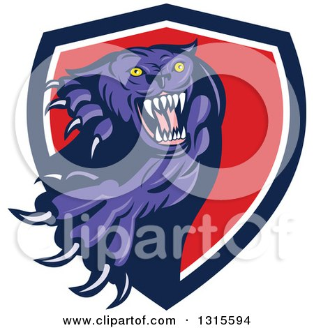 Clipart of a Cartoon Aggressive Attacking Purple Black Panther Cat Emerging from a Blue White and Red Shield - Royalty Free Vector Illustration by patrimonio