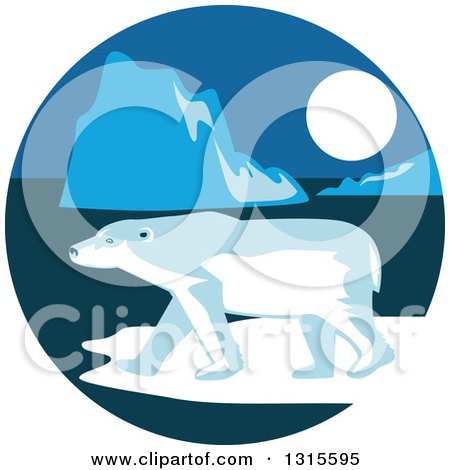 Clipart of a Retro Polar Bear and Ice Burgs at Night in a Circle - Royalty Free Vector Illustration by patrimonio