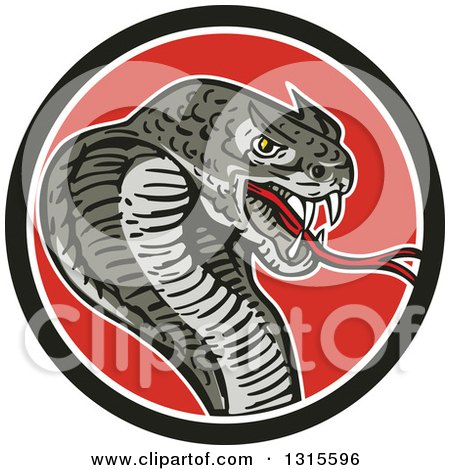 Clipart of a Cartoon Attacking Cobra Snake in a Black White and Red Circle - Royalty Free Vector Illustration by patrimonio