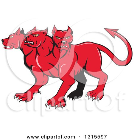Clipart of a Cartoon Red Three Headed Cerberus Devil Dog Hellhound Monster - Royalty Free Vector Illustration by patrimonio